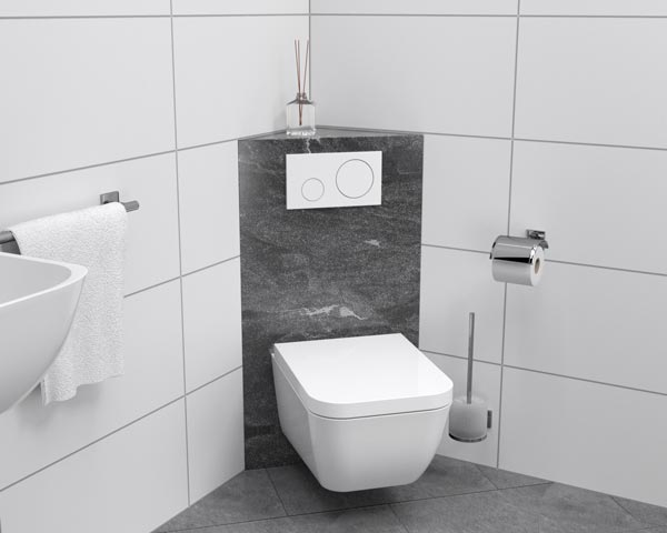 WC-Block Eckverkleidung grau